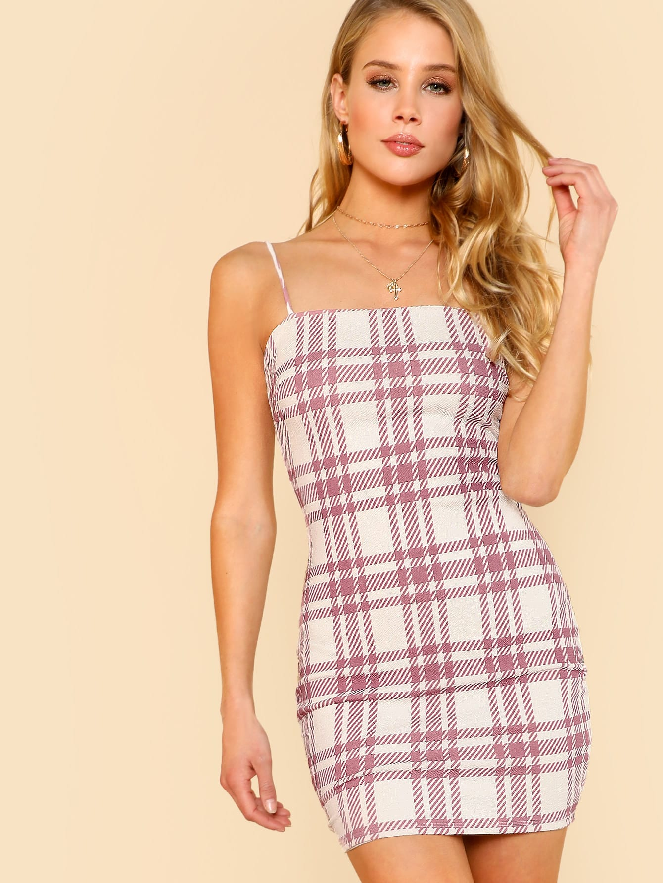 Plaid Fitted Cami Dress наматрасники candide наматрасник водонепроницаемый waterproof fitted sheet 60x120 см