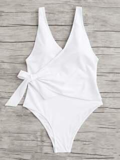 Low Back Surplice Swimsuit