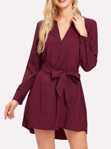Self Tie Dip Hem Dress