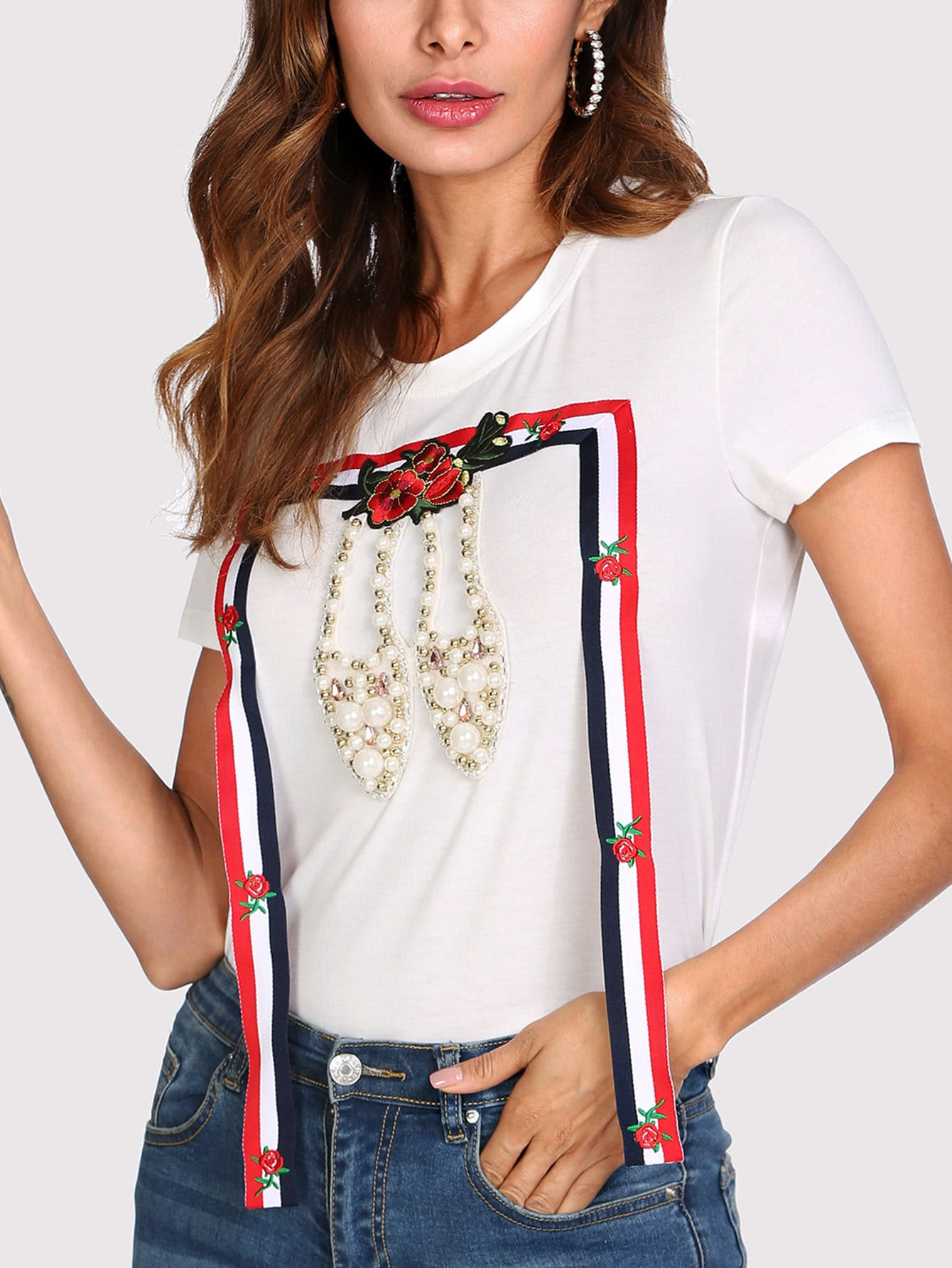 Striped Tape And Pearl Beading Detail T-shirt pearl beading frill detail sweatshirt