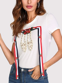 Striped Tape And Pearl Beading Detail T-shirt