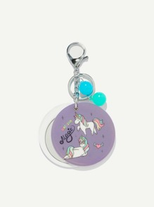 Random Color Ball Unicorn Round Keychain