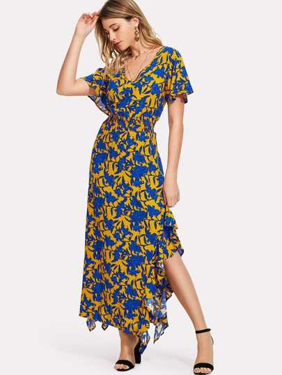Flower Print Ruffle Trim Slit Dress