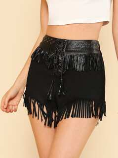 Lace Up Front Fringe Embellished Mixed Media Shorts