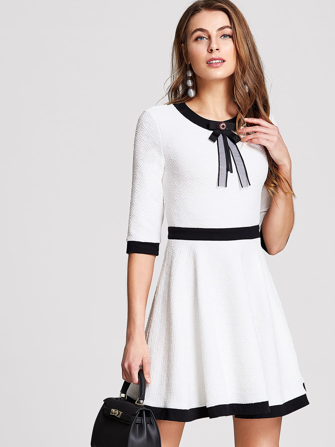 Купить Контрастная лента Fit & Flared Textured Dress, Nastya, SheIn