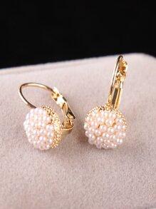 Faux Pearl Hoop Earrings 1pair