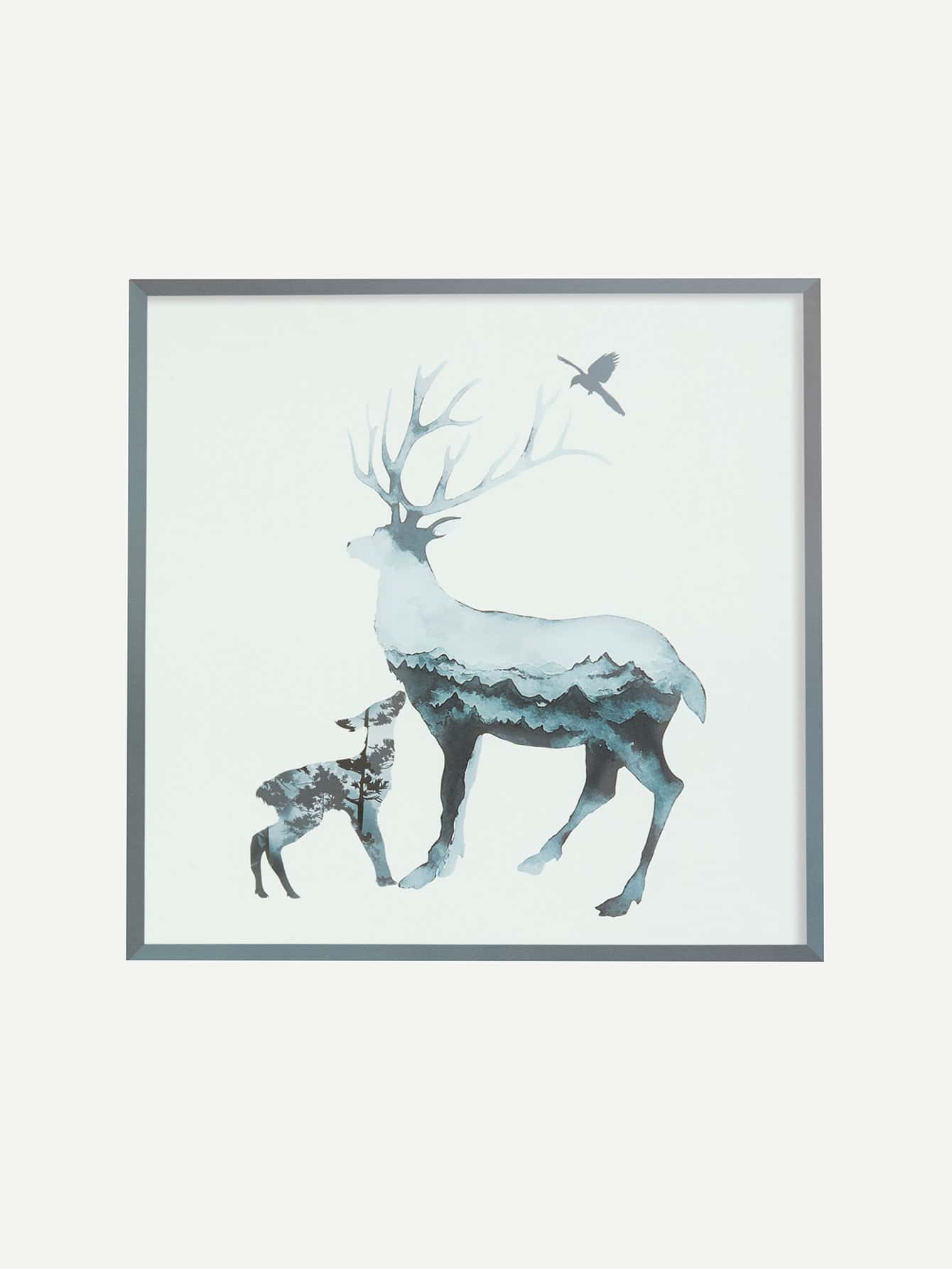Ink Painting Elk Wall Decor