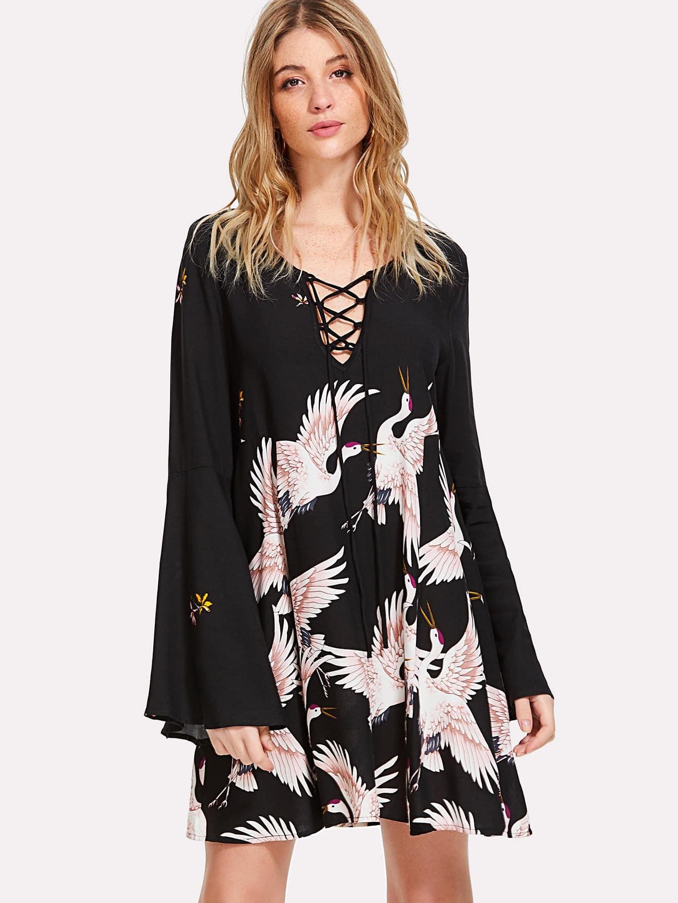 Crane Bird Print Lace Up Neck Dress butterfly print lace up slip dress