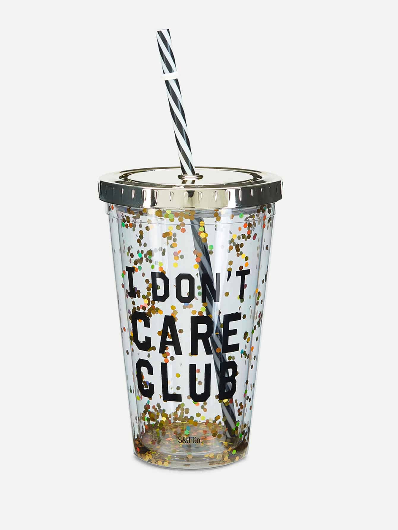 Letter Print Cup With Lid & Straw