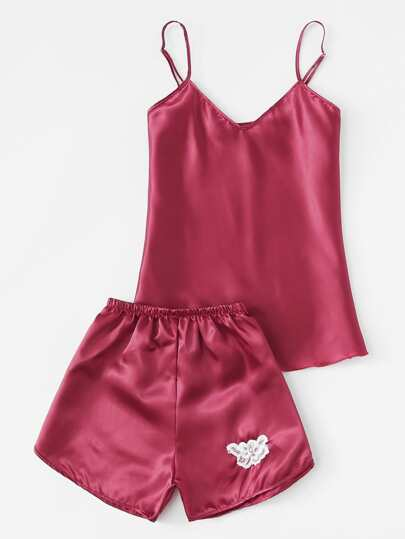 Lace Detail Satin Pajama Set