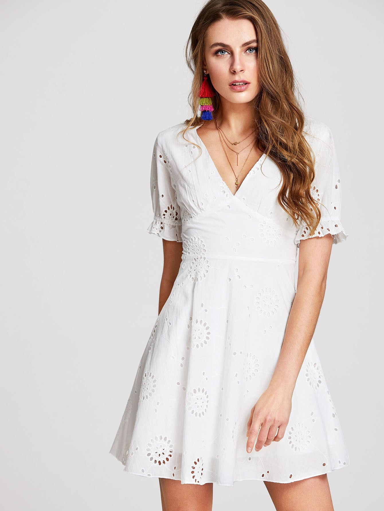 Ruffle Cuff Eyelet Embroidered Dress pearl beading eyelet embroidered cuff tiered dress