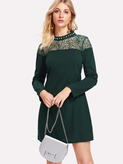 Guipure Lace Insert Pearl Beading Dress