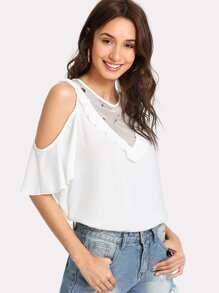 Frilled Detail Embroidery Mesh Insert Blouse