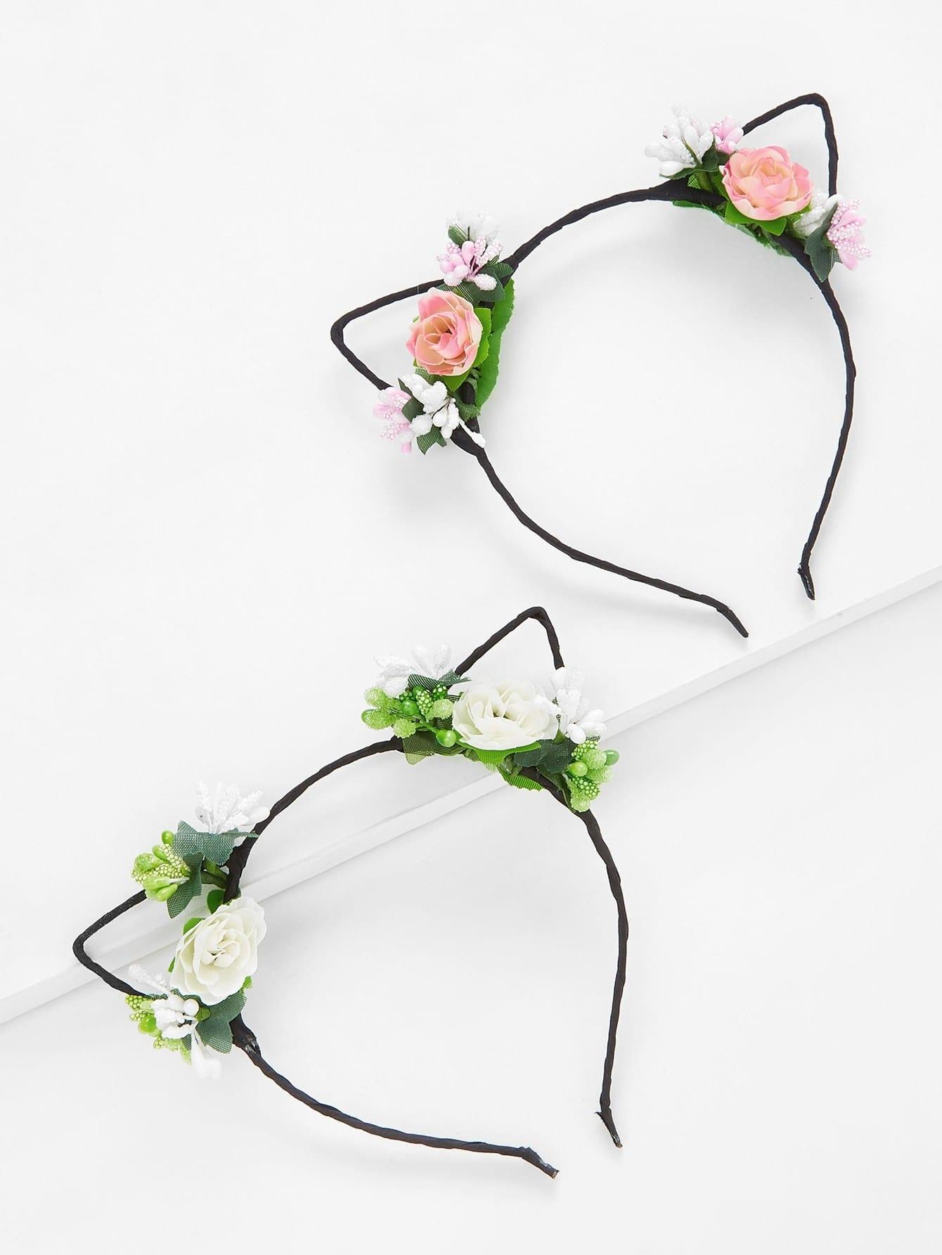Flower Cat Ear Headband 2Pcs lace cat ear design headband 2pcs