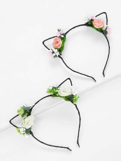 Flower Cat Ear Headband 2Pcs