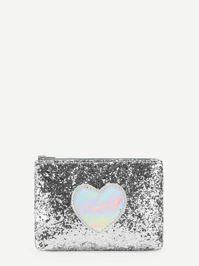 Heart Pattern Sequin PU Wallet