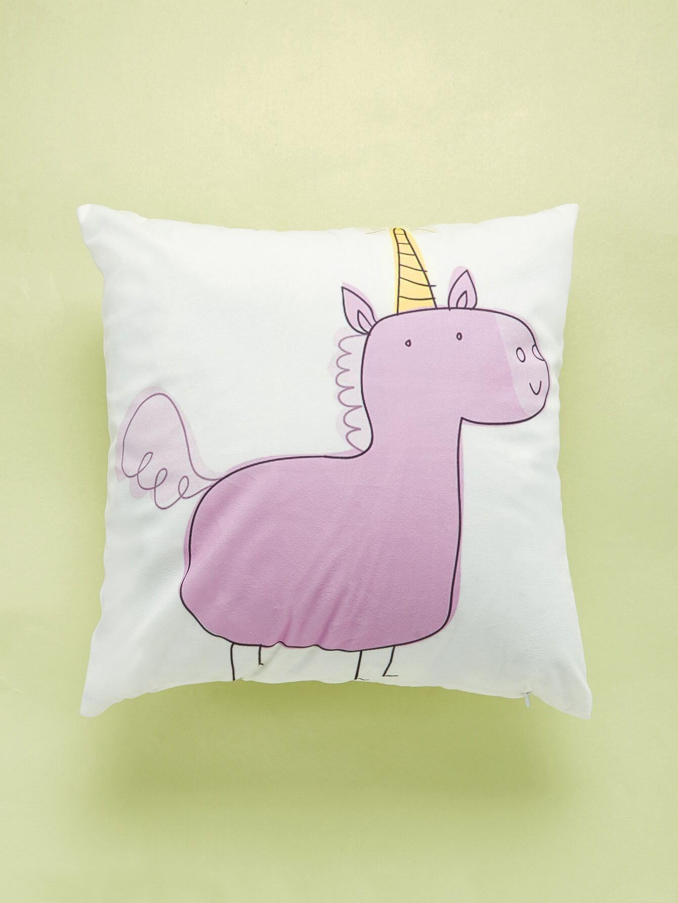 Cartoon Unicorn Print Cushion Cover cartoon animal print cushion cover