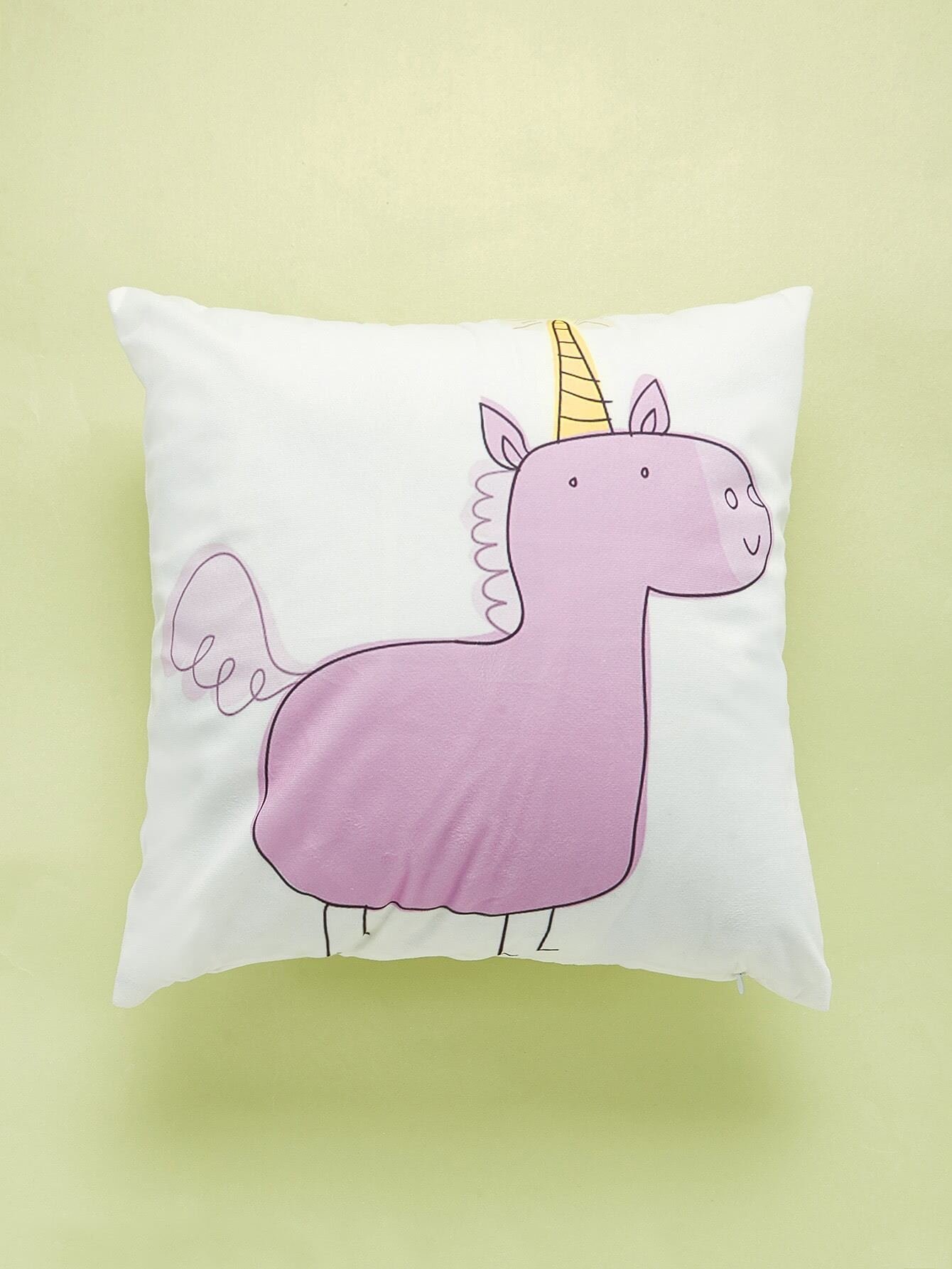 Cartoon Unicorn Print Cushion Cover