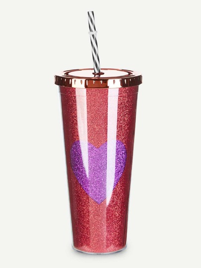 Heart Tumbler Cup With Lid & Straw