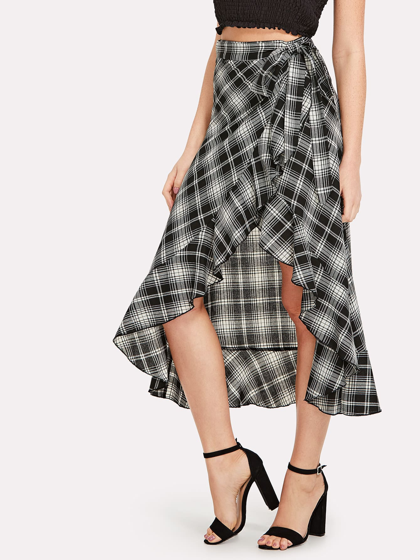 Asymmetrical Ruffle Hem Plaid Skirt knot waist asymmetrical ruffle hem plaid skirt