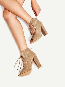 Grommet Detail Lace Up Ankle Boots
