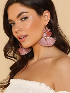Multi Layered Fringe Earrings MAUVE PINK