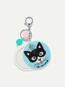 Random Color Ball Cat Round Keychain