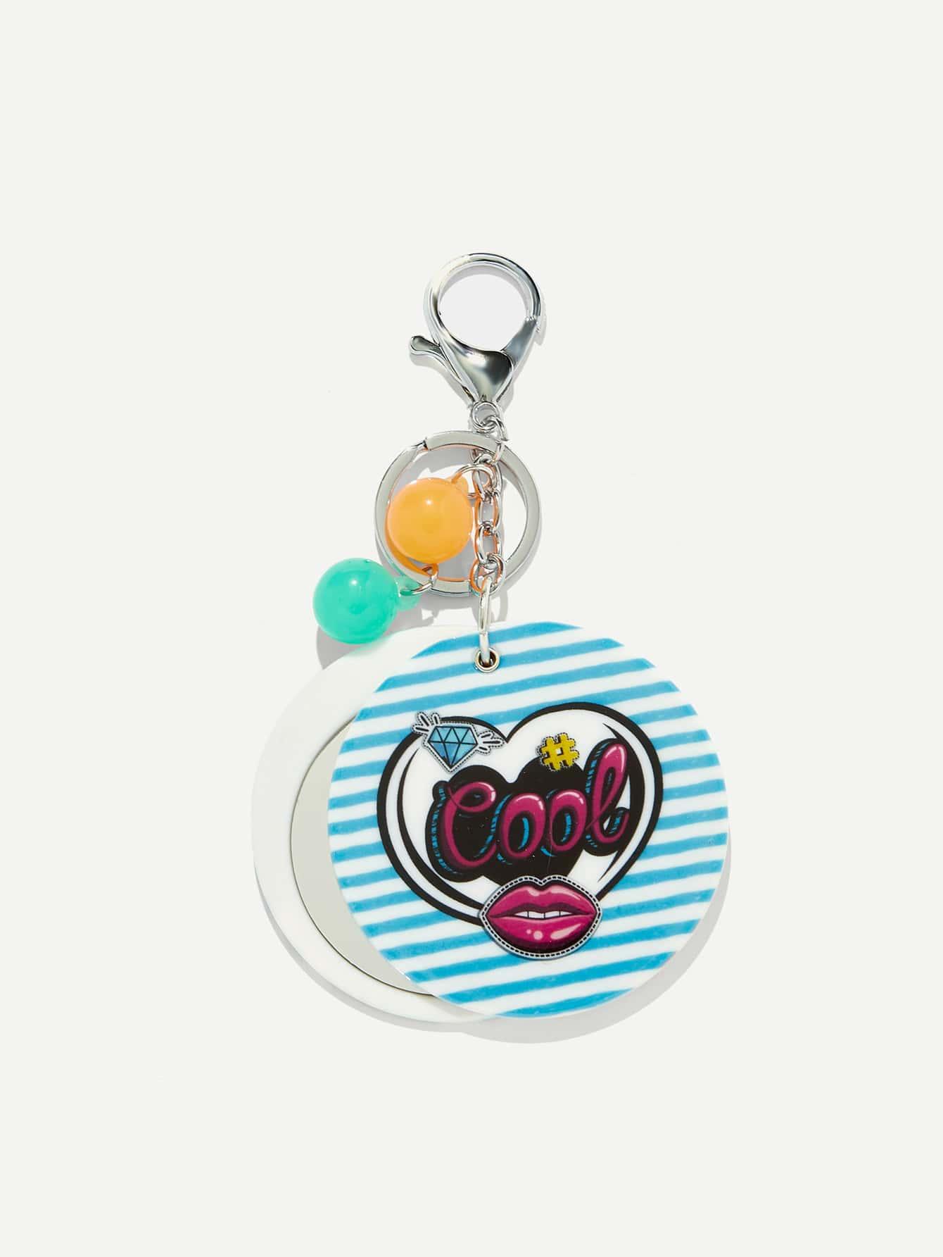 Random Color Ball Round Stripe Keychain random color ball flamingo round keychain