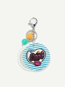 Random Color Ball Round Stripe Keychain