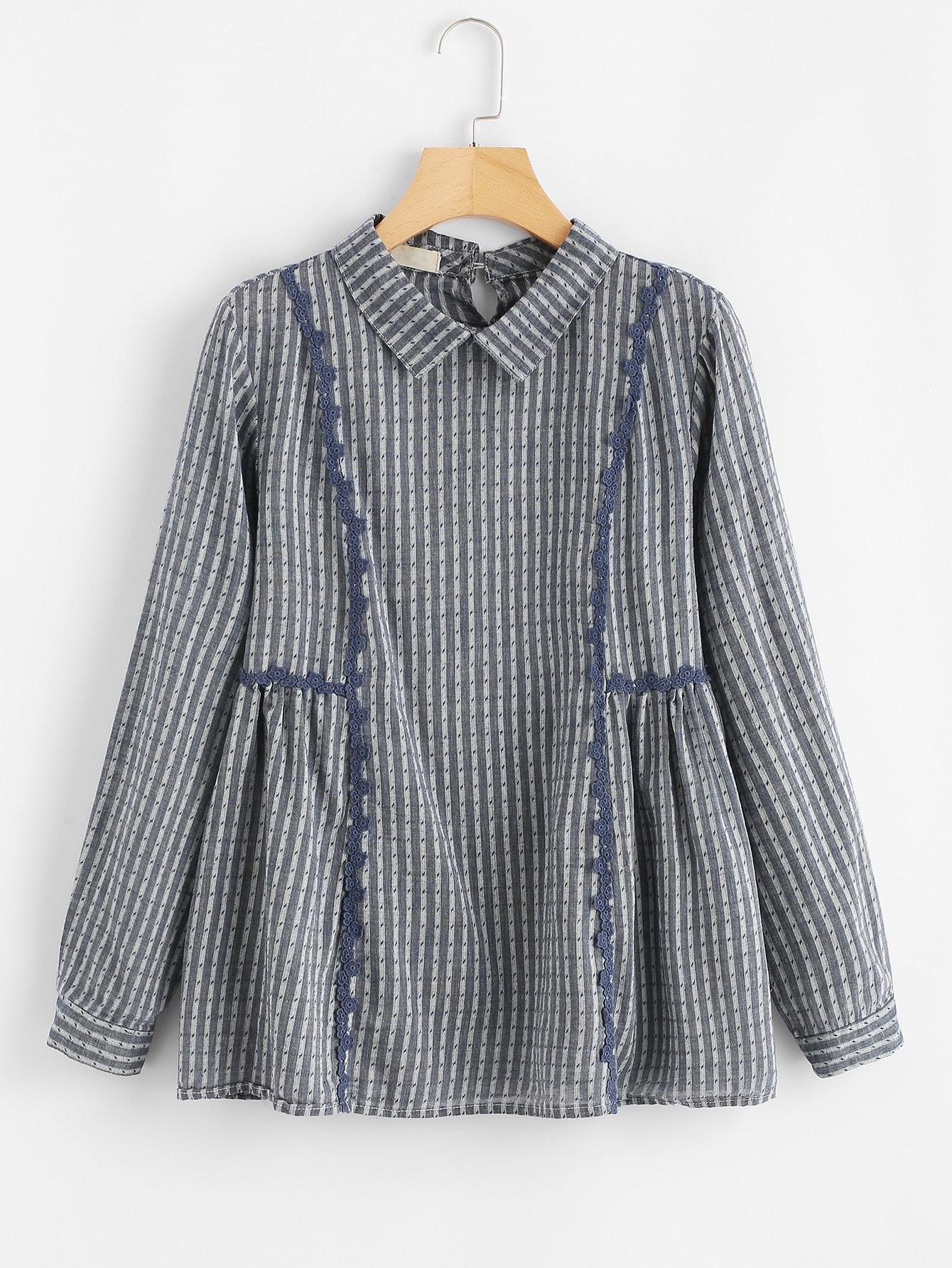 Striped Babydoll Blouse blouse180208203