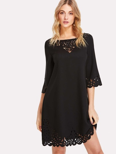 Scalloped Laser Cut Out Dress