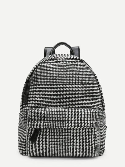 Houndstooth Print Pocket Front Backpack