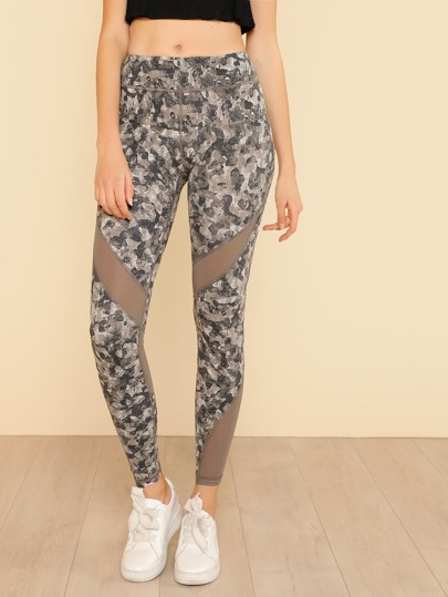 Mesh Panel Camo Print Leggings PRINT