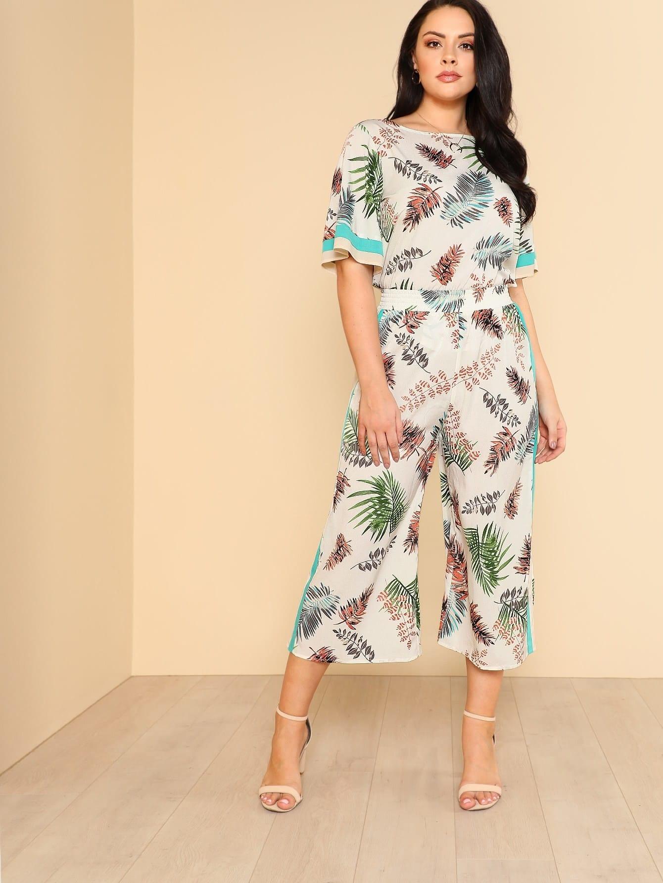 Комплект топ и брюки с цветочными принтом
