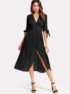 Knot Cuff Ruched Detail Button Up Dress