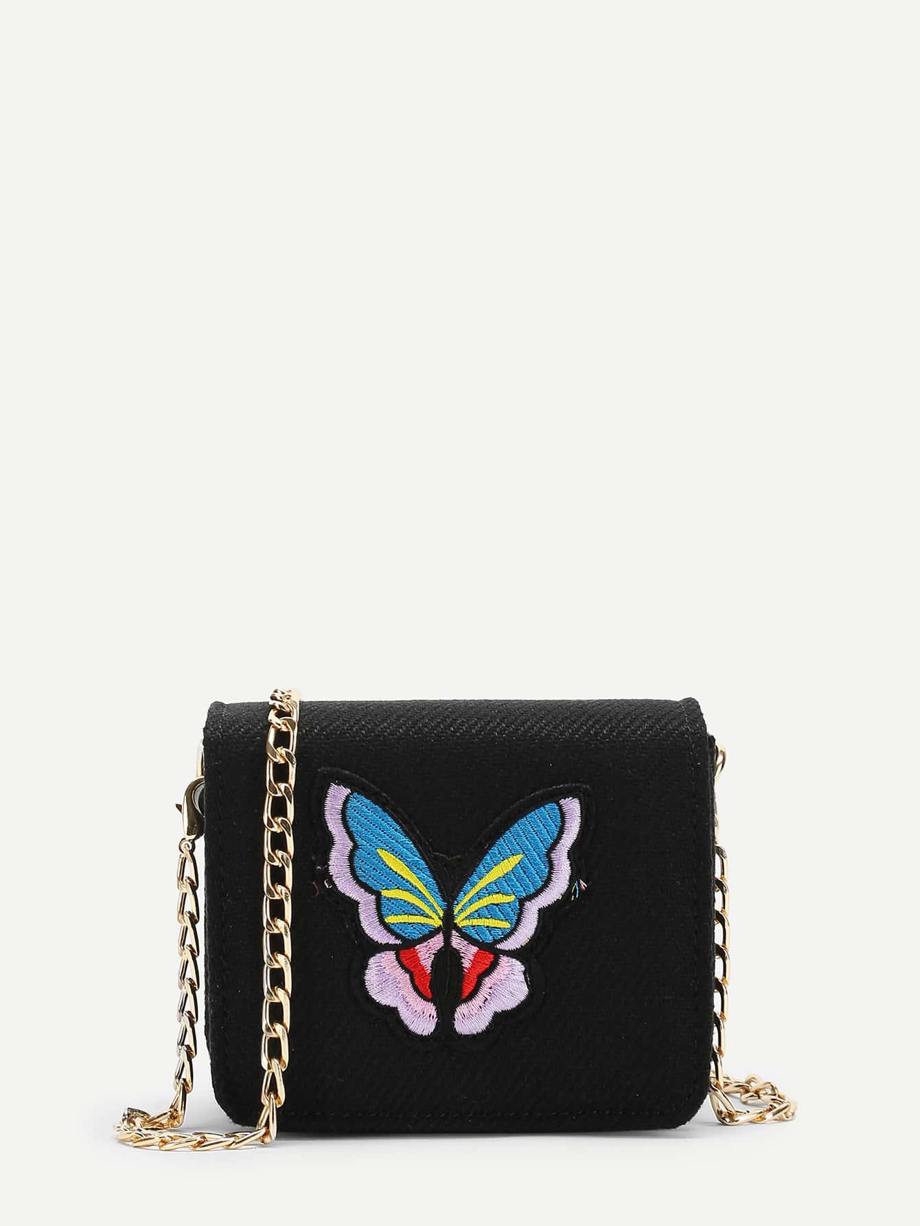 Butterfly Embroidery Flap Chain Bag flower embroidery flap chain bag