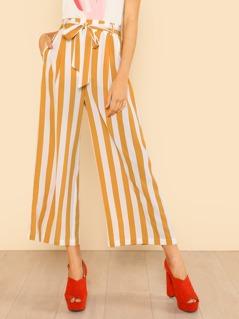 Self Belt Wide Leg Striped Pants IVORY YELLOW