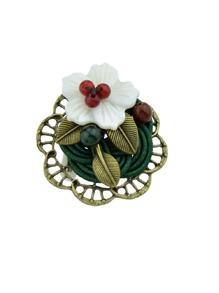Beads Leaf Flower Brooch