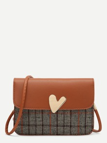 Heart Detail Flap Crossbody Bag