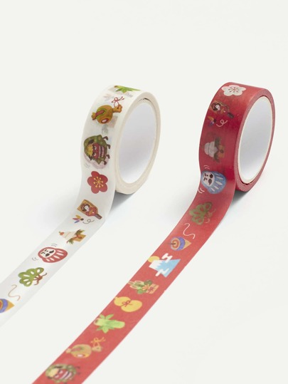Cartoon Print Masking Tape 2 Pcs