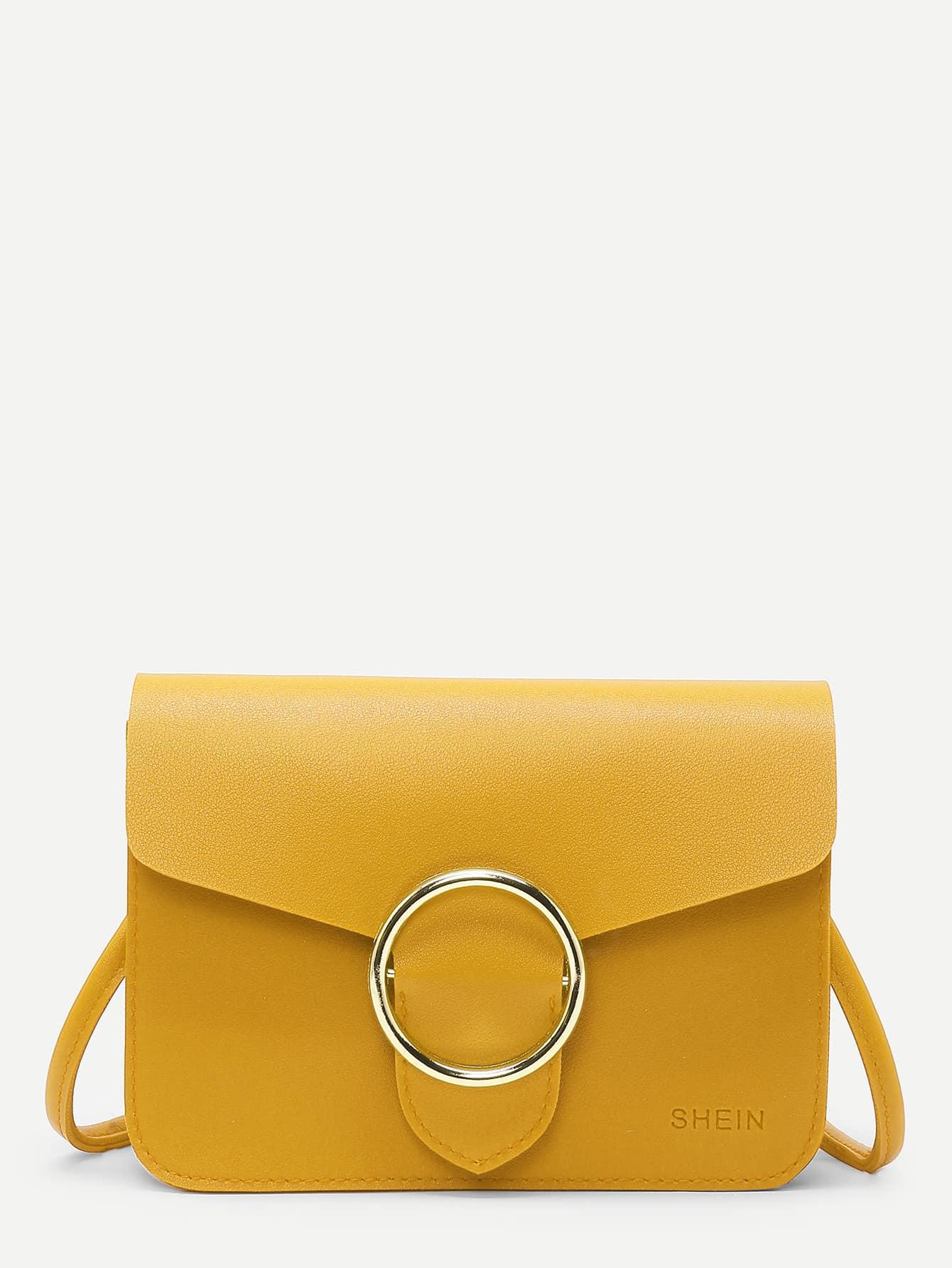 Ring Buckle Front PU Shoulder Bag все цены