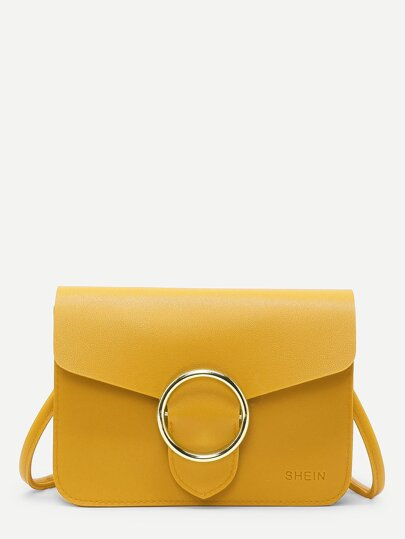Ring Buckle Front PU Shoulder Bag