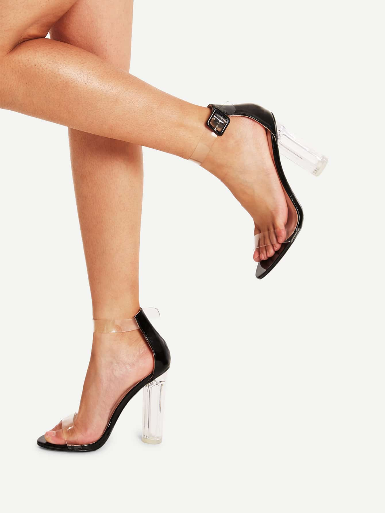Ankle Strap Block Heeled Sandals ankle strap block heeled pu sandals
