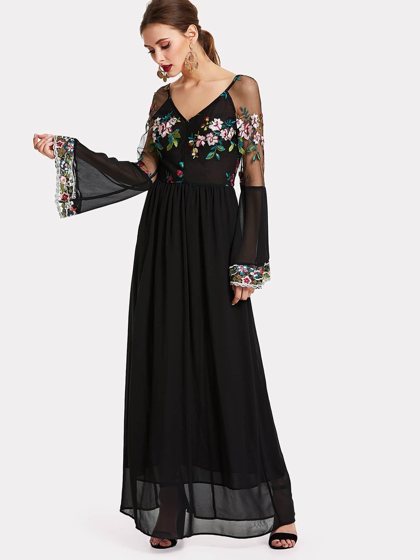 Trumpet Sleeve Embroidered Mesh Bodice Dress mesh panel sleeve dress
