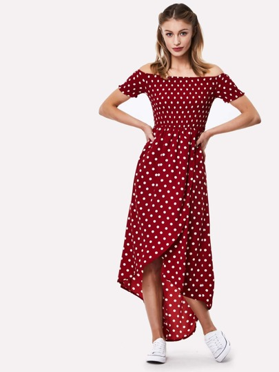 Dip Hem Bardot Polka Dot Dress