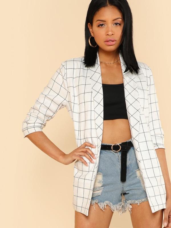 Shawl Collar Grid Blazer by Shein