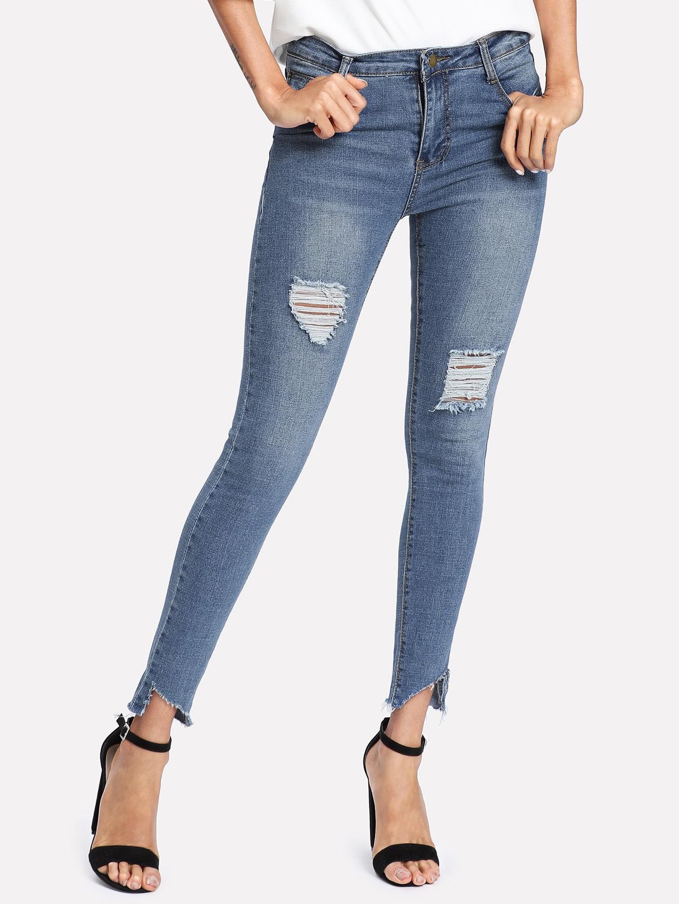 Raw Hem Ripped Jeans