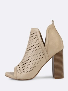 Faux Suede Perforated Peep Toe Chunky Heel NUDE
