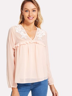 Flower Applique Frill Trim Top