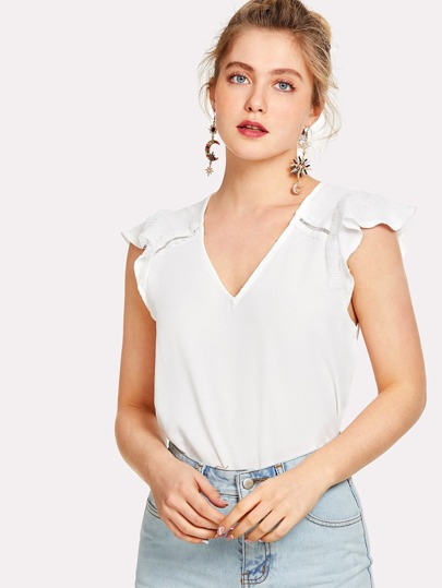 Lace Insert Applique Shoulder Top